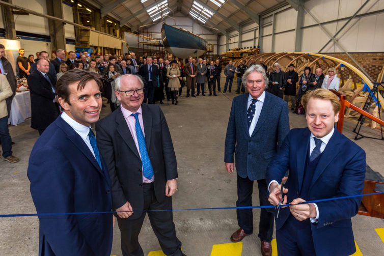 Ben Gummer MP cuts the ribbon at the Spirit Yachts Building Opening, at ABP's Haven Marine, Ipswich, Suffolk, United Kingdom on 21-December-2016. Picture: Stephen Waller  www.stephenwaller.com